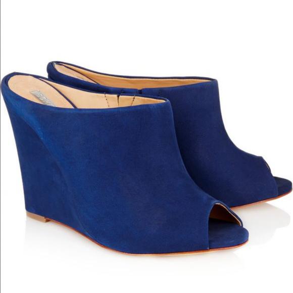 cace805e302 SCHUTZ Shoes | Blue Cobalt Suede Wedges Mules | Poshmark